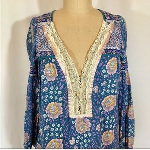 Free People Floral Tunic Blouse Pearl Button S